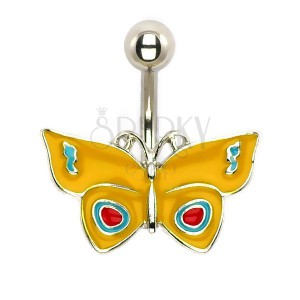 Piercing do břicha - žlutý motýl