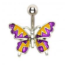 Ocelový piercing - letní motýl