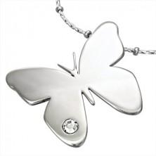Přívěsek z chirurgické oceli, lesklý motýl s čirým zirkonkem