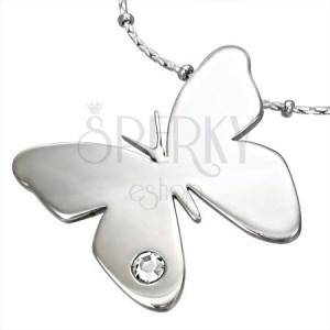 Přívěsek z chirurgické oceli s drahokamem CZ motiv motýl