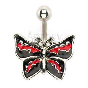 Piercing do břicha - rockový motýl