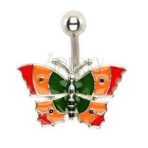 Piercing do bříška - pestrobarevný motýl