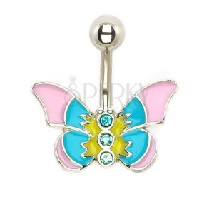 Piercing do břicha - pastelový motýl se zirkony