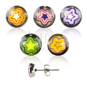 Kulaté náušnice z oceli - barevná hvězda