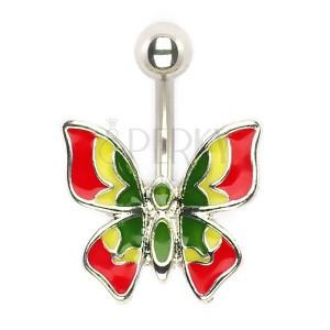 Piercing do pupíku - vícebarevný motýlek