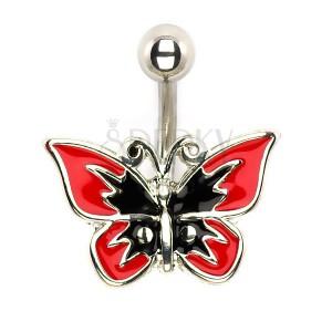 Piercing do břicha - červeno-černý motýl