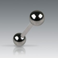 Piercing do jazyka s tmavými matnými kuličkami