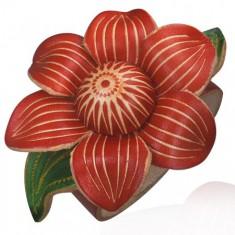 Kožený náramek - květ révy, červený T6.12