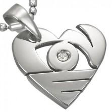 Přívěsek z chirurgické oceli stříbrné barvy, lesklé srdce s výřezy a zirkonem