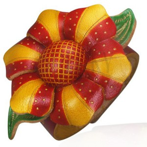 Náramek z kůže - oranžovo-červený květ