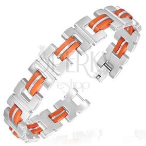 Ocelový náramek - gumové, oranžové články