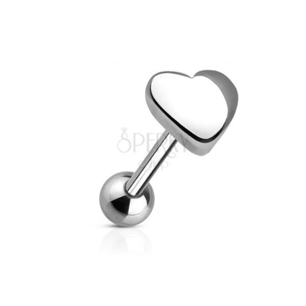 Piercing jazyka s koncovým tvarem veliké srdce