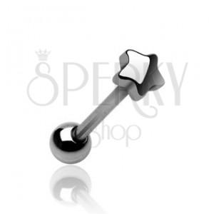 Piercing jazyka s koncovým tvarem malá hvězdička