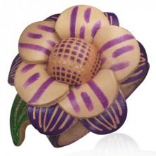 Náramek z kůže - fialový, veliký květ