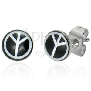 Kruhové ocelové náušnice - černé, symbol míru