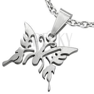 Přívěsek z chirurgické oceli, lesklý vyřezávaný motýl, stříbrná barva