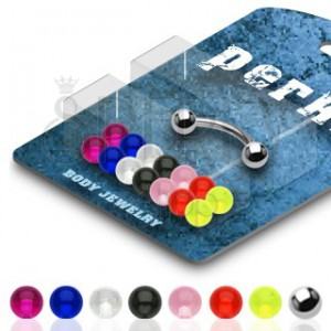 Piercing do obočí  činka s transparentními kuličkami - sada