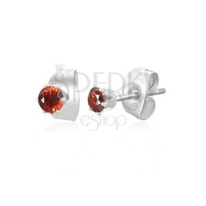 Náušnice z oceli - malý červený zirkonek