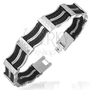 Ocelový náramek - kaučukové články, řecký klíč
