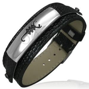 Náramek z falešné kůže - černý, ocelová známka, škorpion