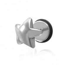 Falešný piercing do ucha z oceli - plug, hvězda