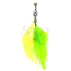 Piercing do pupíku zirkon, žluté a zelené pírko