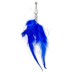 Piercing do bříška se zirkonem a modrými pírky