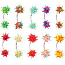Piercing do obočí se silikonovým barevným ježkem