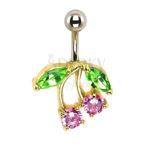 Piercing do pupíku - třešně, růžové a zelené zirkony, zlatý podklad