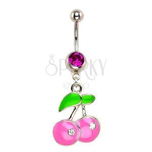 Piercing do pupíku - pastelově ružové třešně, zirkony