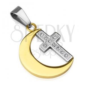 Přívěsek z oceli - zlatý měsíc, křížek, zirkony