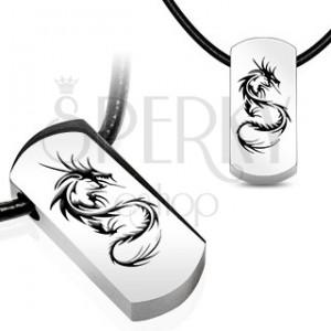 Náhrdelník - ocelový přívěsek, čínský drak