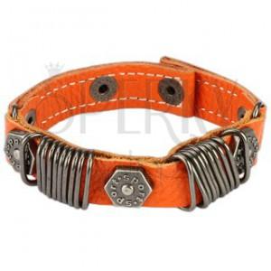 Kožený náramek - kovové kroužky, vybíjený