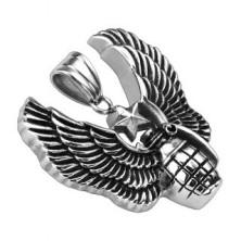 Ocelový patinovaný přívěsek - granát, andělská křídla a hvězda odvahy