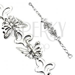 Ocelový náramek - stříbrní motýlci