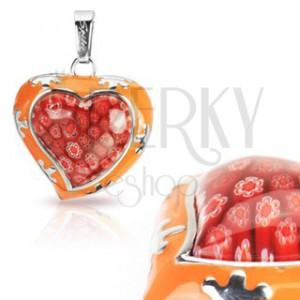 Přívěsek ze skla - Murano, oranžové srdce