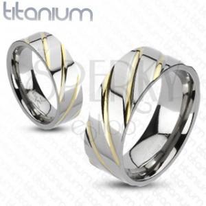 Titanový prsten - stříbrný, zlaté proužky
