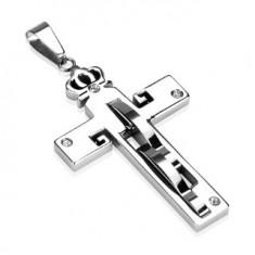 Přívěsek z oceli - kříž a koruna, zirkony R1.16