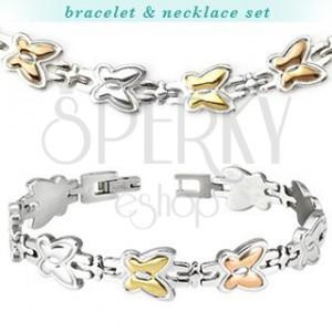 Ocelový náhrdelník a náramek - dvoubarevní motýli