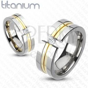 Prsten z titanu - dva zlaté pásy, zirkon
