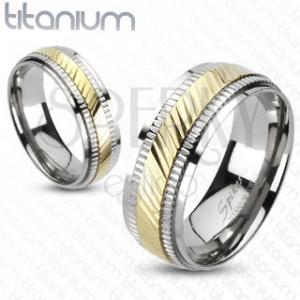 Titanový prsten - dvoubarevný, vroubkovaný