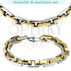 Sada náramků a náhrdelník z oceli - mohutná dvoubarevná očka
