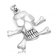 Přívěsek z chirurgické oceli - pirátská lebka, stříbrná barva