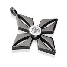 Přívěsek z černé chirurgické oceli - květ s blýskavým čirým zirkonem