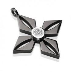 Přívěsek z černé chirurgické oceli - květ s blýskavým čirým zirkonem AA06.24