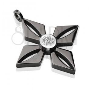 Přívěsek z černé chirurgické oceli květ