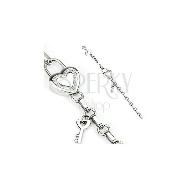 Náramek z oceli - řetízek a srdce, klíč