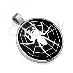 Přívěsek z oceli 316L, černý kruh s motivem pavouka s pavučinou