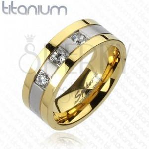 Titanový prsten - zlato-stříbrný, tři zirkony