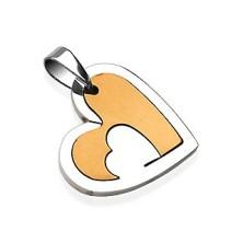 Přívěsek z chirurgické oceli, srdce s výřezem, stříbrná a zlatá barva